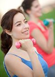 Girls exercising outdoors Royalty Free Stock Photos