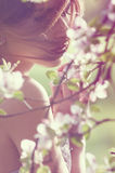 Girls face around the spring branches Royalty Free Stock Photo