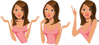 Girls face in different expressions, question, it is necessary to think, idea, funny woman characters. Vector drawing of girls face in different expressions Stock Image