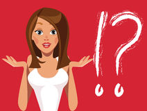 Girls face emotions, fashion girl, different expressions, question, idea, woman characters Stock Photos