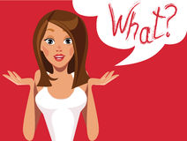 Girls face emotions, girl question what, different expressions, woman characters Stock Photo