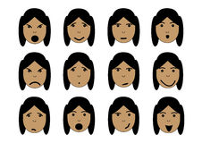 Girls face emotions Royalty Free Stock Image