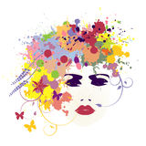 Girls face with flowers in her hair - vector illustration Royalty Free Stock Photo