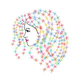 Girls face with flowers. In profile stock illustration
