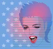 Girls face. Girl's face the background of stars and stripes vector illustration