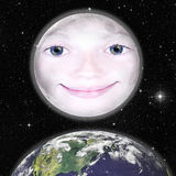 Girls face in shape of a full moon Royalty Free Stock Photos
