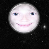 Girls face in shape of a full moon Royalty Free Stock Image