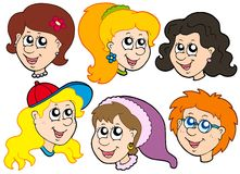 Girls faces collection Royalty Free Stock Photography