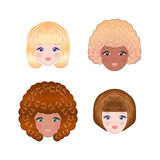 Girls faces Stock Illustration