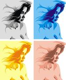 Girls faces on the color background. Very nice girls faces on the color background Royalty Free Stock Image