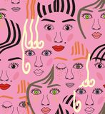 Girls faces with eyes, hairs, noise and lips. Pink, orange, blue, yellow, red, gray, and black a seamless pattern on a purple background Royalty Free Stock Images