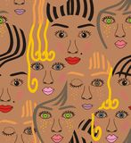 Girls faces with eyes, hairs, noses and lips. Pink, orange, blue, yellow, red, gray, and black a seamless pattern on a brown background Stock Images