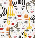 Girls faces with eyes, hairs, noses and lips. Pink, orange, blue, yellow, red, gray, and black a seamless pattern on a white background Royalty Free Stock Photos
