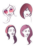 Girls faces set Royalty Free Stock Image
