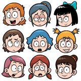Girls faces. Vector illustration of Cartoon Girls faces Stock Photography