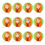 Girls facial expressions. Royalty Free Stock Photo