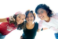 Girls from a family having fun playing together Stock Image