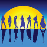 Girls and famous buildings vector illustration Royalty Free Stock Photography