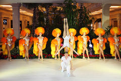 Girls of famous Parisian cabaret Moulin Rouge Stock Photo