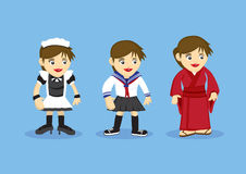 Girls Fancy Costume Vector Cartoon Illustration. Vector illustration of cartoon girls in fancy costumes for French maid, Sailor style school uniform and Royalty Free Stock Photography