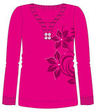 Girls Fancy Printed Fashion Fullsleeve Tops Illustration with print Royalty Free Stock Photo