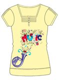 Girls Fancy Printed Fashion Tops Illustration with print Stock Images