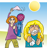 Girls farewell. Cartoon illustration of two girls farewell after holidays Stock Photography