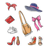 Girls fashion accessories icons Stock Photography