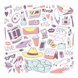 Girls fashion icons stickers vector illustration. Royalty Free Stock Photos