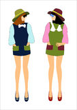 Girls in fashionable clothes Stock Photos