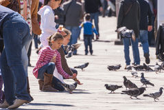 Girls feeding pigeons Royalty Free Stock Photos