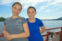 Girls on Ferry Royalty Free Stock Photo