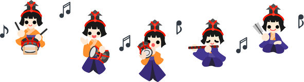 Girls Festival Five musicians Royalty Free Stock Image