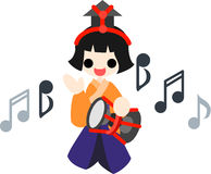 Girls Festival Five musicians(large drum) Stock Images