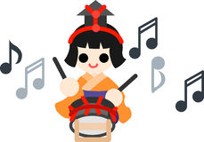 Girls Festival  Five musicians(small drum) Stock Photography