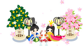 Girls Festival in Japan -The Emperor and the empress-. Japanese celebrate the Girls' Festival on March 3. It's the day to pray for healthy growth and happiness Royalty Free Stock Images