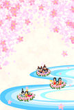 Girls Festival in Japan -Floating doll-. Japanese celebrate the Girls' Festival on March 3. It's the day to pray for growth and happiness for girls. People threw Stock Images