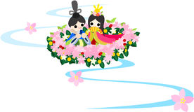 Girls Festival in Japan -(Floating doll)-. Japanese celebrate the Girls' Festival on March 3. It's the day to pray for growth and happiness for girls. People Royalty Free Stock Images