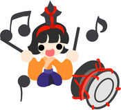 Girls Festival in Japan -Musician(large drum)-. Japanese celebrate the Girls' Festival on March 3. It's the day to pray for healthy growth and happiness for Royalty Free Stock Photography