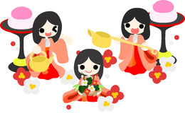 Girls Festival in Japan -Three court ladies- Royalty Free Stock Image