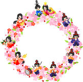 Girls Festival in Japan -The wreath of Girls festival in Japan-. Japanese celebrate the Girls' Festival on March 3. It's the day to pray for healthy growth and Royalty Free Stock Photo