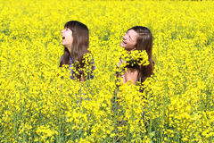 Girls In Field royalty free stock photography