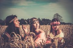 Girls in a field Royalty Free Stock Photo