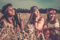 Girls in a field Stock Photography