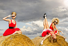 Girls in the field Royalty Free Stock Photography