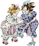 Girls fighting. Fat and thin old fashioned girls fighting Stock Photo