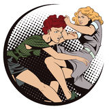 Girls fighting. Sale. Discounts at store. Stock illustration. People in retro style pop art and vintage advertising. Girls fighting. Sale. Discounts at store Stock Photos