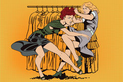 Girls fighting. Sale. Discounts at store. Stock illustration. People in retro style pop art and vintage advertising. Girls fighting. Sale. Discounts at store Royalty Free Stock Images