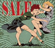 Girls fighting. Sale.. Stock illustration. People in retro style pop art and vintage advertising. Girls fighting. Sale. Grunge version Stock Photos