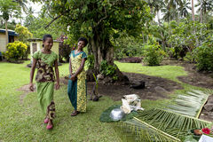 Girls in Fiji arrange a demonstration of life. Girls in Fiji arrange a demonstration of rural life in their little village like plaiting, cooking Stock Photography